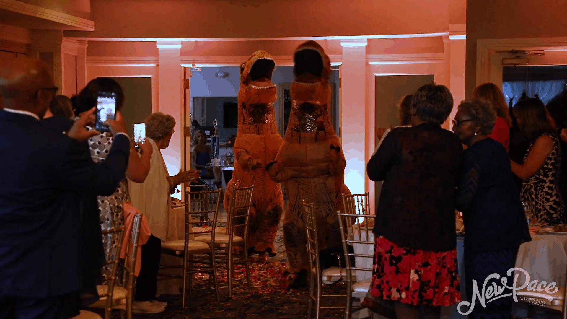 T-Rex Bride & Groom Entrance!
